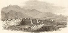ANTIQUE ENGRAVED PRINT, CHINA, GREAT WALL, VIEW FROM TOWER 1850