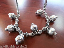 """STERLING SILVER WHEAT STYLE NECKLACE WITH BEADS 21"""" Indian/Asian Style"""