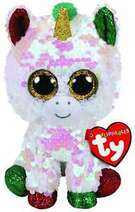 """TY Christmas Flippables Sequin 6"""" STARDUST Unicorn Beanie Baby Plush Toy MWMTs"""