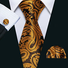 USA Yellow Gold Paisley Silk Tie Set Mens Jacquard Woven Necktie Wedding Party