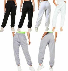 Womens Cuffed Bottom Fleece Trouser Ladies Jogging Joggers Gym Wear Jog Pants