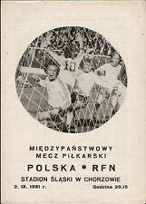 Länderspiel 02.09.1981 Polen - Deutschland in Chorzow