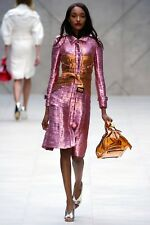 Burberry Prorsum Runway Pink Orange Lamee Stunning Trench Dress Coat 40IT