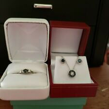 GORGEOUS!! Natural Blue/White Diamond white gold necklace, ring and earring set