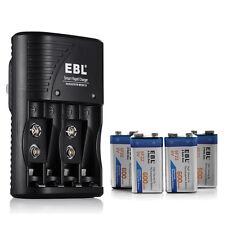 4 Slot AA AAA 9V Battery Charger + 4x 600mAh 9 VOLT Li-ion Rechargeable Battery