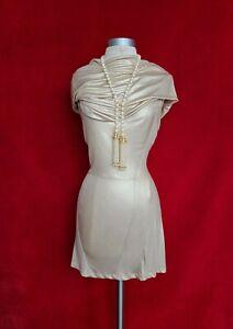 Vintage Christian Dior Sexy Draped Champagne Gold Mini Dress Size 4