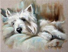 MARY SPARROW Westie West Highland Terrier Dog Puppy Oil Painting PRINT Languor