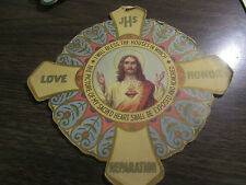 VINTAGE - I WILL BLESS THE HOUSES IN WHICH - CARDBAORD RELIGIOUS HANGING