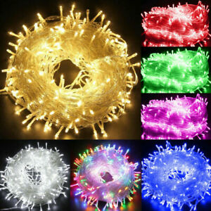 100-800 LED Fairy String Lights 8 Modes Mains UK Plug Xmas Tree Outdoor Garden