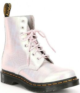 Doc Dr. Martens 1460 PASCAL Boot Mother of Pearl Croc Pink Women's Size 9 41
