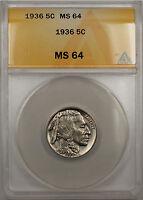 1936 Buffalo Nickel 5C Coin ANACS MS-64 (Better Coin 10)