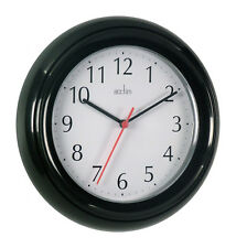 Acctim Wycombe Kitchen Bathroom Bedroom Office Round Wall Clock - Black