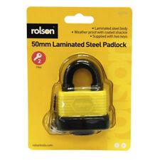 50mm Weatherproof Heavy Duty Laminated Steel Padlock Key Shed Door Rolson 66514