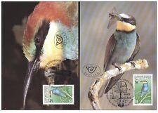 austria 1988 wwf bird ave vogel oiseaux merops 2 mc maxi card