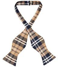 Vesuvio Napoli SELF TIE BowTie Navy Blue Brown White Color PLAID Men's Bow Tie