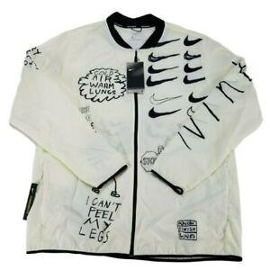 🔥 Nike Nathan Bell Printed Running Jacket Men's Size Large White AJ7759-133 🔥