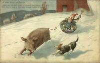 Kids Sledding Pulled by Pig Chased by Dog A WORK BY BACON c1910 Postcard