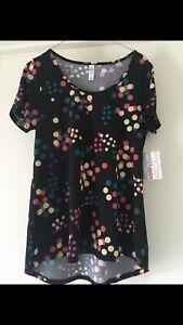 Lularoe New Classic T Shirt Small black Blue Green Yellow Pink Spots Dots