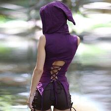 Women Sleeveless Back Lace-up T-Shirt Hoodies Hooded Shirt Tank Tops Vest Blouse