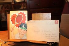 1930 Vintage Valentine's Day Card Be Mine Raise Racquet Metal Mesh w/ Envelope