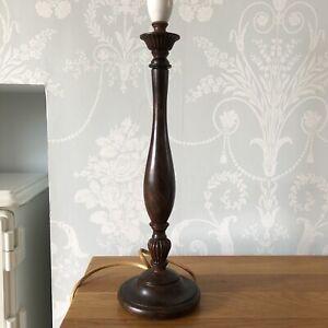 Vintage Dark Wood Turned Tall Table Lamp Retro Brushed Effect Ornate