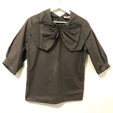 MARNI Women Brown 100% Cotton Bow 3/4 Sleeve Top Size 40 - Italy - Flawed
