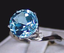 5.78cts Genuine Sky Blue Topaz Solitaire w/Diamonds 9k Solid Gold Ring Size 7