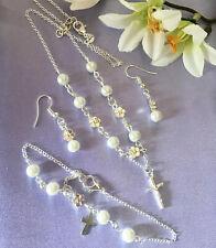 """Sterling Silver 18"""" Necklace/white Pearl&flower+bracelet&earrings/in A Box"""