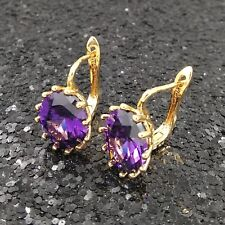 18K Gold Filled Stylish Italian Amethyst Huggie 18ct GF Earrings 15mm
