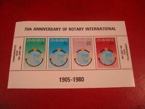 ZIMBABWE - 1980 ROTARY INTERNATIONAL MINISHEET - UNMOUNTED MINT MINIATURE SHEET