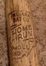 "Vtg 1930s Indiana Bat Co Home Run Wood Baseball Bat 33"" Uncracked Paoli Indiana"