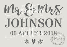 WEDDING STENCIL a4 PERSONALISED surname date DIY Decoration Signs Crates VINTAGE