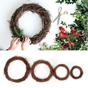 Natural Dried Wicker Rattan Garland Wreath Vine Ring Wedding Party Home Decor