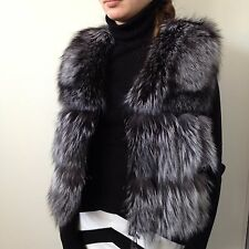S - M  Jacket vest coat real fur silver fox and leather