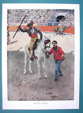 BULLFIGHT ARENA Picador with Spear on Horse - SPAIN VICTORIAN Era Print