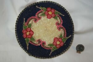 """Miniature Dollhouse Vinttage 1940s Hand Hooked 5 """" Round Floral Rug 1:12 NR"""