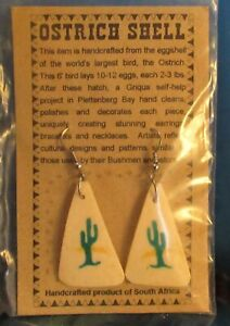 Hand Crafted Painted South African Bushmen Authentic Ostrich Egg Shell Earrings
