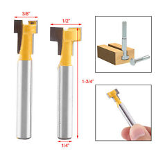 "2pcs Carbide Yellow T-Slot Cutter Router Bit for 3/8"" 1/2"" Hex Bolt - 1/4"" Shank"