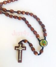 Rosary Wood Brown Crucifix Cross CATHOLIC Rosario Cafe Cruz Necklace Guadalupe