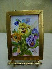 "VTG Signed Florence Kohl Framed Pansy Floral Still Life Oil Painting 4.5"" x 6"""