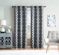 Denim Blue Ivory (2) Grommet Window Curtain Panels: Geometric Trellis Design 96L