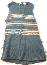 Cignal blue sleeveless top with tan and white stripes, size M