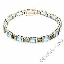Sterling Silver 13 Channel Set Simulated Blue Topaz & Marcasite Tennis Bracelet