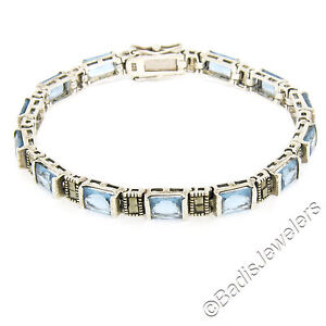 Sterling Silver 13 Channel Set Simulated Blue Topaz & Marcasite Tennis Bracelet