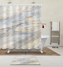 "72"" Marble Texture Shower Curtain Liner Bathroom Mat Set Watercolor Fabric Hooks"