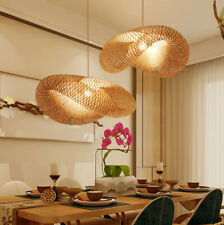 Asian Handmade Bamboo Weave Pendant Lighting Rattan Dumplin Shape Hanging Lamp