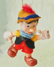 "Vintage Disney Pinocchio  Christmas Ornaments Plastic w/ Felt Outfit 4"" tall"