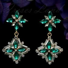 18K Gold Plated GP Emerald Green Crystal Rhinestone Drop Dangle Earrings 00551