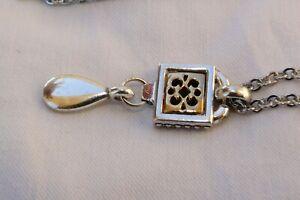 Altered Brighton Silver & Gold Framed Dangle Flirt Charm Reversible Necklace