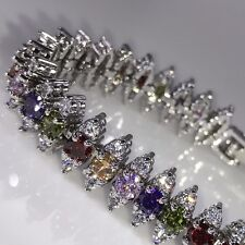 Sterling Silver Finish Rainbow Topaz CZ & White Cubic Zirconia Tennis Bracelet